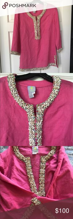 CJ LAING Pink Tunic Shell + Bead Embroidery size L Like new condition!  Perfect as a swim cover up or as a Tunic with white jeans.  Cotton & Linen Blend with Hand-Embroidered shells and beading.  Hook and eye closure at Neckline.  2 side slits.  The intricate and beautiful shell and bead details on the hem, collar, sleeves and slits make for a weighted top but not at all too hot to wear.  Brand has 3 stores - Palm Beach and 2 in Nantucket.  Not easy to find! CJ LAING Tops Tunics