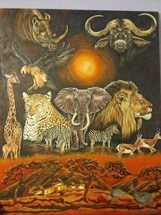 Painted by Susan Pienaar Lion Sculpture, Statue, Unique, Crafts, Painting, Art, Art Background, Manualidades, Painting Art
