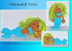 crochet pattern amigurumi mermaid doll puppet by MOTLEYCROCHETCREW, €4.18