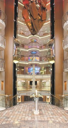 Look up while onboard Explorer of the Seas. Spectacular artwork decorates the elevator lobbies of all Royal Caribbean ships.