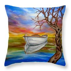 Boat Throw Pillow featuring the painting Repose by Faye Anastasopoulou