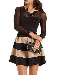 Long Sleeve Striped Skater Dress: Charlotte Russe