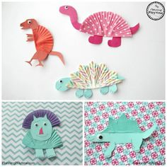 Cupcake Liner Dinosaur Crafts, DIY and Crafts, Create your own mini Jurassic Park with these Cupcake Liner Dinosaur Crafts. Fun for the kids, and they might learn a little something too. Camping Crafts For Kids, Crafts For Kids To Make, Toddler Crafts, Crafts To Sell, Diy And Crafts, Arts And Crafts, Kids Crafts, Creative Activities, Craft Activities