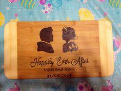 Snow white wedding cutting board  on Etsy, $25.00 CAD