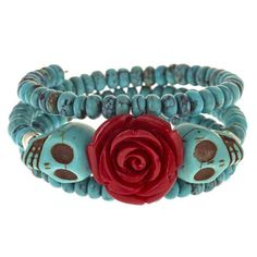 Day of the Dead memory wire bracelet                                                                                                                                                     More