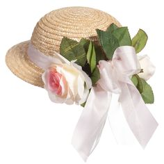 Il Trenino - Girls Straw Hat with Pink Ribbon & Roses | Childrensalon