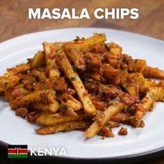 Kenyan Masala Chips Recipe by Tasty - Pasta Recipes Pasta Recipes, Dinner Recipes, Cooking Recipes, Cooking Pork, Cooking Hacks, Tea Recipes, Dinner Ideas, Chicken Recipes, Healthy Recipes