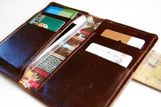 Leather iPhone Wallet in Dark Chocolate Brown by RobbieMoto
