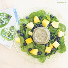 Pineapple & Blueberry #Protein Smoothie made with #GardenofLife #Organic Plant Protein! Click for full recipe.
