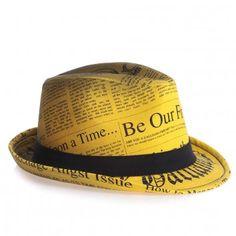 John Galliano Boys Yellow Gazette Print Trilby Hat