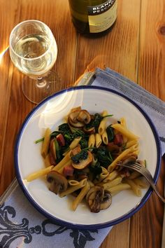El blog de Ana H:  Macarrones con champiñones y espinacas Receta fácil y muy sana!!!