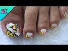 YouTube Toe Nail Art, Toe Nails, Floral Nail Art, Toe Nail Designs, Manicure, Lily, Spas, Margarita, Beauty