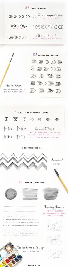 Watercolour Chevron Pack. The perfect resource for graphic designers!