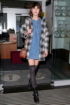 April 20 2008 She wore over-the-knee socks with a denim dress for an interview on Radio 1.