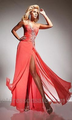 Long, peach prom dress