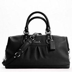 Black leather Ashley Sabrina Coach bag