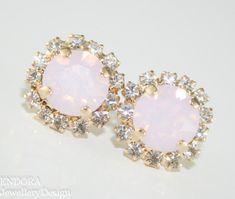 Pink Crystal Stud earrings, Rose Water Opal Swarovski crystal #EndoraJewellery on Etsy
