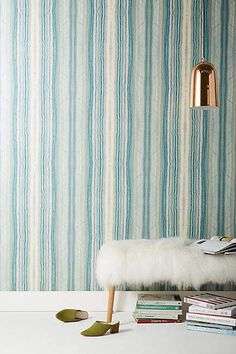 Festival Wallpaper by Candice Olson in Blue, Wall Decor at Anthropologie Accent Wallpaper, Unique Wallpaper, Damask Wallpaper, Geometric Wallpaper, Designer Wallpaper, Wallpaper Designs, Striped Wallpaper, Wallpaper Manufacturers, Candice Olson