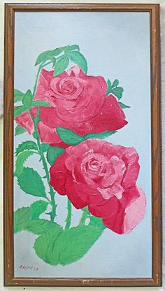 Folk Art Naive Pink Roses Botany Vintage Painting Flowers Still Life LeGrand Pink Painting, Painting Flowers, Art Paintings For Sale, Price Sticker, Pink Art, Naive, Botany, Pink Roses, Still Life