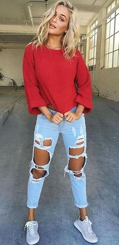 fall outfit of the day   red top + distressed jeans + sneakers