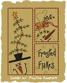 Frosted Flakes4x4Primitive Machine Embroidery by PrimitiveKeepers, $4.00