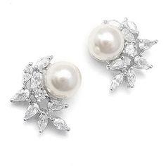 Pearl Stud Earrings, Classic Pearl CZ Cluster, Pearl Bridal Jewelry Set, Wedding Earrings, Bridesmaid Earrings, Gift, Audrey Hepburn