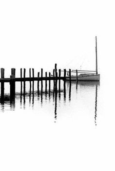 Alison Shaw sailboat and dock black & white photo