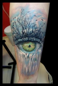 http://tattoo-ideas.us realistic eye and tree tattoo