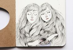 Detail of my altered Moleskine journal illustrating the poem 'Goblin Market' by Christina Rossetti.