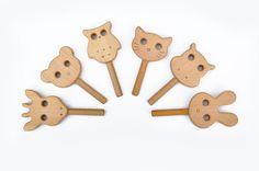 Cute Animal Rattles 1pc  Animal Shaped Wooden by WoodAndYarnToys