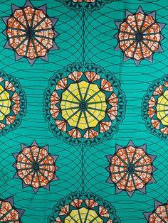 mandalas in a green African fabric