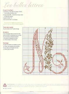 cross stitch letter M--prefer all one color Embroidery Alphabet, Embroidery Sampler, Hand Embroidery Patterns, Cross Stitch Embroidery, Monogram Cross Stitch, Cross Stitch Alphabet, Alpha Patterns, Back Stitch, Alphabet And Numbers