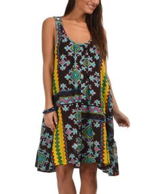 Dark Brown & Turquoise Geometric Shift Dress by Palme #zulily #zulilyfinds