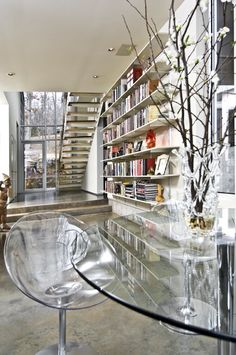 Modern take on a home library - LOVE IT!