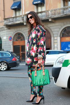 Viviana Volpicella on the street in Milan. from New York Fashion slideshow.
