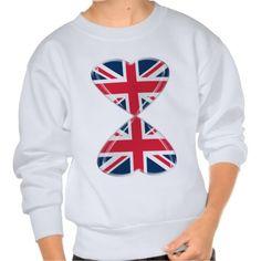 Kissing UK Hearts Flags Pull Over Sweatshirt