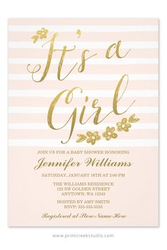 Chic blush pink and gold girl baby shower invitations. A modern script font and faux gold flowers on a soft pink strip background.