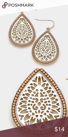 "Beaded Moroccan Teardrop Earrings [grandavenue: 329131]  • Color : Rhodium • Size : 1.1"" W, 2"" L • Fish Hook Back • Beaded metal teardrop moroccan earrings Jewelry Earrings"