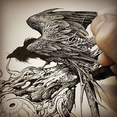 Twa Corbies (WIP detail), ink on Arches, 2016. ⚔⚔ Original illustration used…