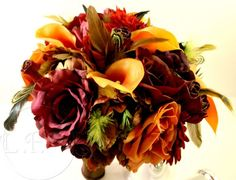 Jewel of Autumn Wedding Bouquet & Boutonniere Set :  wedding bouquet bridal bridesmaids brown burgundy calla lilie ceremony flowers gold green lilly orange reception red roses wedding Bouquet Fall3