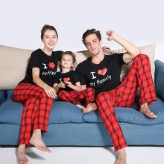 * Funny matching graphic * Elastic waist * Material: cotton shirt linen pants * Machine wash, tumble dry * Includes: 1 set * Imported Red plaid lounge pants and printed shirt define these everyday pajamas set. Available in both adult and kids sizes. Matching Christmas Pajamas, Family Christmas Pajamas, Matching Family Pajamas, Matching Family Outfits, Family Pajama Sets, Family Pjs, Cute Family, Pajama Outfits, Kids Outfits
