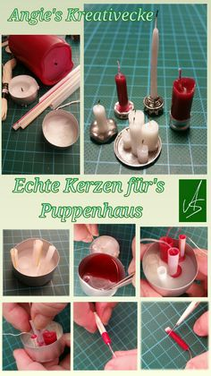 Echte Kerzen fürs Puppenhaus Miniatur Kerzen diy / Dollhouse miniatures / easy making Candles