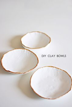 DIY Minimalistic Clay Bowls using air dry clay; handmade gifts; craft project inspiration