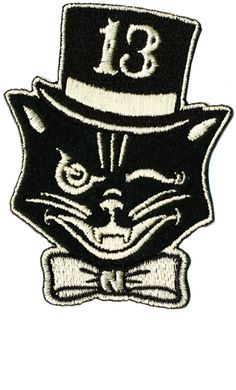 Details about Lucky 13 patch badge Black Cat Mr Katz top hat rockabilly tattoo Kustom Kulture - 13 Tattoos, Black Cat Tattoos, Asian Tattoos, Trendy Tattoos, Biker Tattoos, Retro Tattoos, Music Tattoos, Traditional Tattoo Girls, Traditional Flash