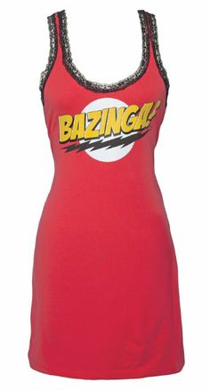 Big Bang Theory Bazinga! Lace Trim Juniors Sleep Tank/Dress. For details or ordering click on the image!