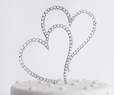 Pix For > Crystal Heart Wedding Cake Toppers