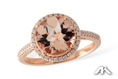 Try this beautiful rose gold and diamond morganite engagement ring.  This does have a matching curved diamond wedding band