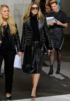 Making an entrance: Olivia Palermo attended the Preen show at London Fashion Week on Sunday wearing an all black leather outfit