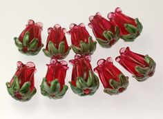 Handmade Red Tulip/Rose Lampwork Beads