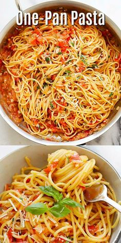 One-Pan Pasta - Quick and easy pasta recipe that takes less than 20 minutes to m. - One-Pan Pasta – Quick and easy pasta recipe that takes less than 20 minutes to make. Throw all th - Pastas Recipes, Best Pasta Recipes, Easy Dinner Recipes, Vegetarian Recipes, Easy Meals, Cooking Recipes, Healthy Recipes, Dutch Oven Pasta Recipes, Meatless Pasta Recipes